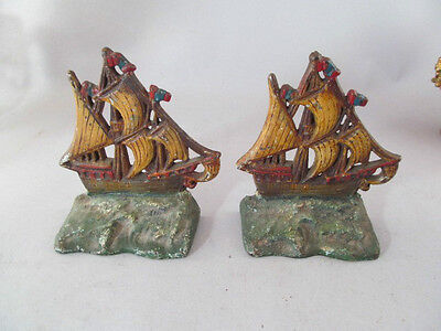 Vintage Antique Pair Of Painted Cast Iron Sailing Ship Bookends