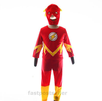 2-7 The Flash Boys Kids Costume Set Halloween Party Dress Up Outfit Cosplay
