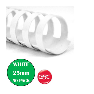 GBC Binding Combs Coils 25mm 50 Pack White - BEP25W50