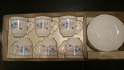 Vintage J.G.Durand Arcopal Milk Glass Coffee Set of 6 Cups & Saucers w/Box