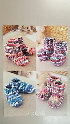 Sirdar Knitting Pattern #1483 Baby Bootees to Knit in Snuggly Baby Crofter DK