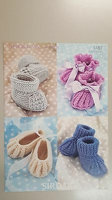 Sirdar Knitting Pattern #1487 Baby Bootees to Knit in Snuggly 4 Ply Yarn