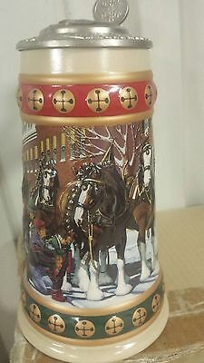 1994 Anheuser Busch AB Budweiser Bud Lidded Signature Holiday Stein with box coa