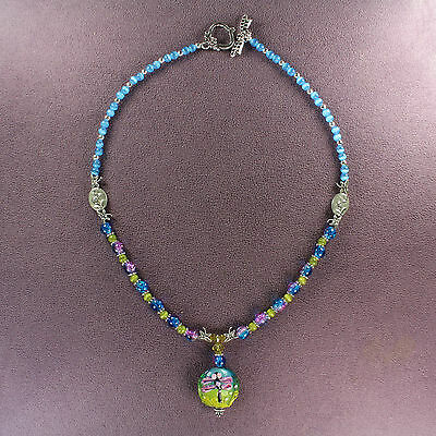 LAMPWORK DRAGONFLY NECKLACE Crystal Butterfly Beads Blue Lilac Flower Silver Art