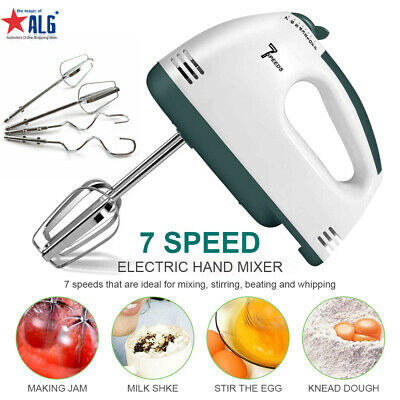 7 Speed Kitchen Electric Hand Mixer Egg Beaters Whisk Blender Whipper Dough Hook