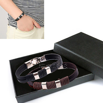 Mens Ladies Womens Unisex Real Genuine Braided Leather Surfer Bracelet Wristband
