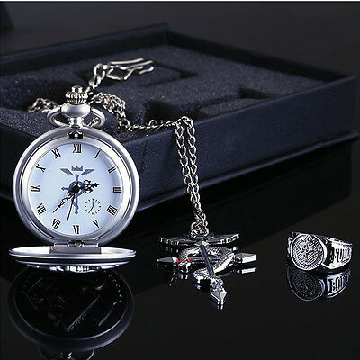 Anime Fullmetal Alchemist Pocket Watch with Necklace & Ring Cosplay Prop Gift