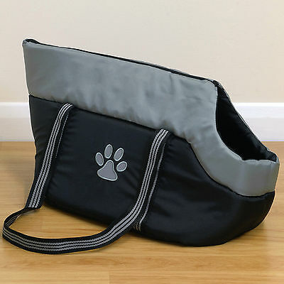 Black/Grey Padded Pet Travel Carrier Hand/Shoulder Bag for Dog/Puppy/Cat/Kitten