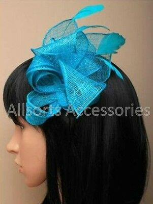 Teal Looped Feather Comb Fascinator Ladies Day Royal Ascot Wedding
