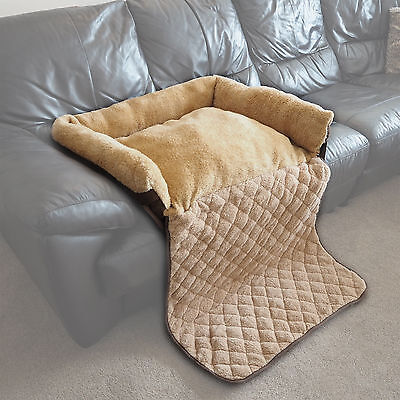 Large Quilted Brown Fleece Fold Out Pet Bed Cat/Dog Sofa/Couch/Chair Protector
