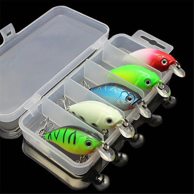 Lot 5pcs Fishing Lure Baits Crankbait Minnow Crank Bait Tackle 2 Treble Hooks