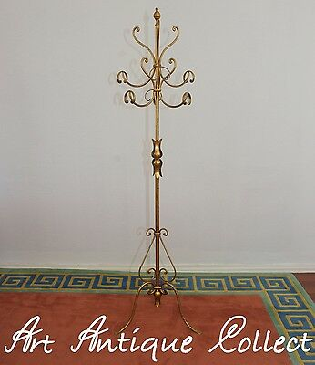 Hollywood Regency Gilded Hat Coat Stand Clothes Rack Hall Tree Toleware Italy