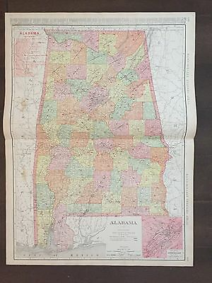 "Large 21"" X 28"" COLOR Rand McNally Map of Alabama-1905"