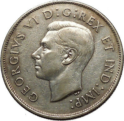 1944 CANADA King George VI of Britain Silver 50 Cent Coin Coat of Arms i53784