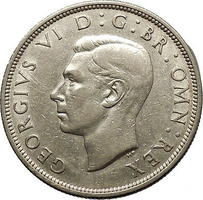 1940 United Kingdom of Great Britain GEORGE VI Half Crown Silver Coin i53786