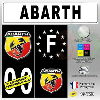 """4x Stickers Plaques D'immatriculation Fond Noir """"Abarth"""" Personnalisable 110x45"""