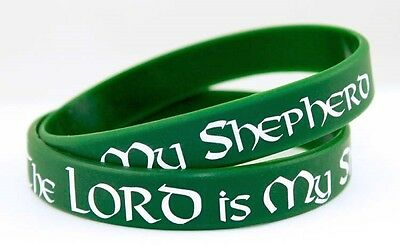 THE LORD IS MY SHEPHERD Green Silicone Christian Wristband Bracelet
