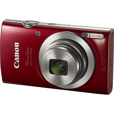 Canon PowerShot ELPH 180 20MP 8x Optical Zoom HD Video Red Digital Camera