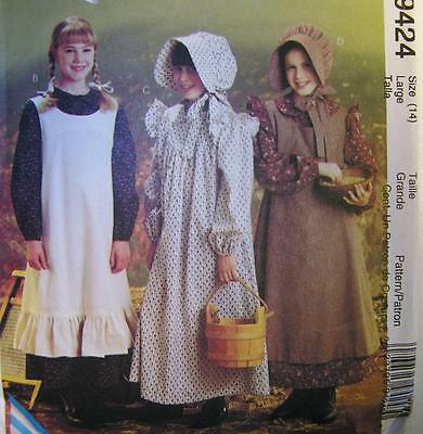 McCall's Girls pioneer Costume 9492 Size 14 Large New reenactment