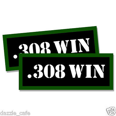 "308 WIN Ammo Can 2x Labels Ammunition Case 3""x1.15"" stickers decals 2 pack"