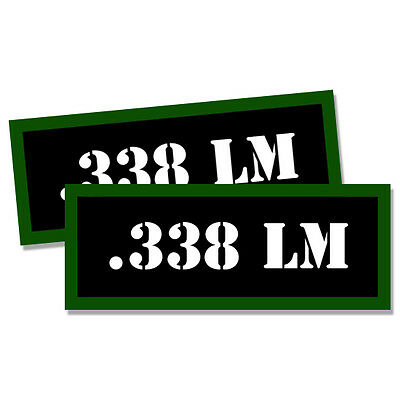 """.338 LM Ammo Can 2x Labels Ammunition Case 3""""x1.15"""" stickers decals 2 pack"""