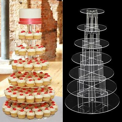 7 TIier Round Modern Cupcake Stand - Clear Acrylic Display Tower Wedding & Party