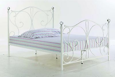 New Stunning Florence 5`0 King Size Crystal Finials Metal Bed Frame