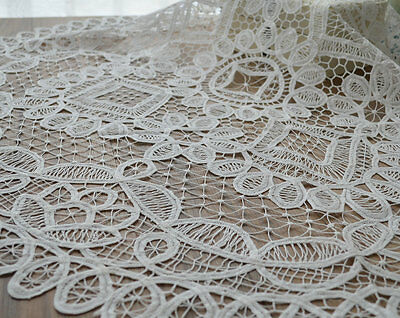 "Victorian White Battenburg Lace Round Table Cloth Doily 36"" Pineapple Wedding"