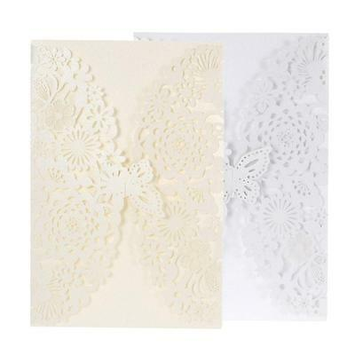 20Pcs Romantic Wedding Party Invitation Card Delicate Carved Flowers Paper B4Y9