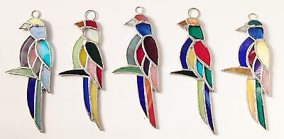 Lot of 5 Stained Glass  PARROTS !  - Gorgeous HANDMADE Suncatcher   Ornament !