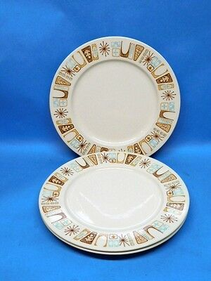 Marimba Bay Dinner Plate x 3 China Harmony House 4558 Atomic Retro Pattern