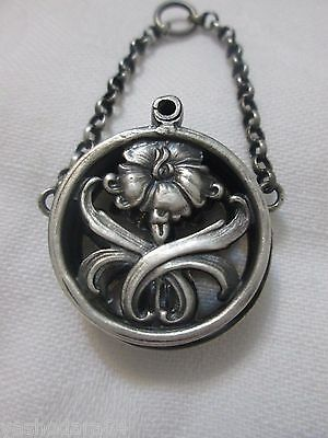 GREAT ART NOUVEAU VINAIGRETTE SILVER POCKET WATCH HOLDER CHATELAINE c1920