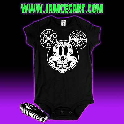 Mickey Mouse Skull Day of the Dead Baby One Piece Infant Tim Burton iamcesart