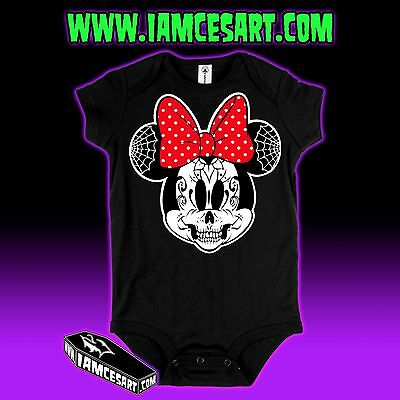 Minnie Mouse Skull Day of the Dead Baby One Piece Infant Tim Burton iamcesart