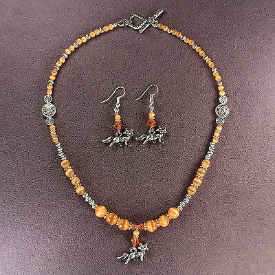 FOX TOTEM NECKLACE EARRINGS SET Charm Talisman Foxes Symbol Sign Animal Magick