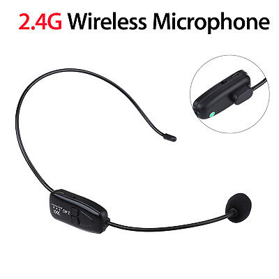 Fitness Black Remote Wireless Microphone Headset MIC Receiver & 3.5mm Jack Plug