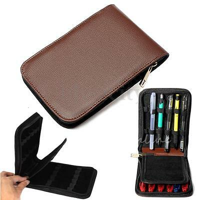 Fountain Roller Pen Brown PU Leather Binder Case Holder Stationery for 12 Pens