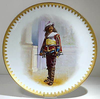 Grand French Glazed Painted Earthenware Musketeer Charger Creil Montereau 1880s