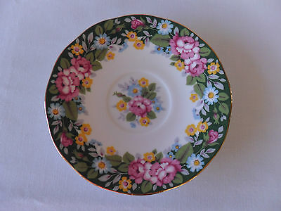 Rosina China Queens Oxford Green Floral 14.5cm Saucer