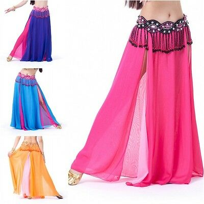 Sexy Women Lady Belly Dance Costume Dance Double Color Chiffon Skirt 8 Colors