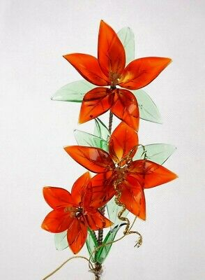 Red Flowers  Glass Ornament Always Fresh Look Handmade Bouquet Room Decoration