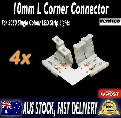 4 Sets of 10mm LED Strip L Shape Corner Connector Set For 5050 SMD LED Strips