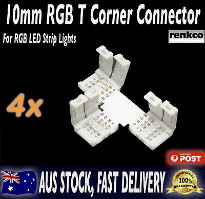 4 Sets of 10mm LED Strip T Shape Corner Connector Set For RGB LED Strips