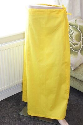100% cotton Yellow Petticoat Underskirt Saree Dupatta Small Medium Extra Large