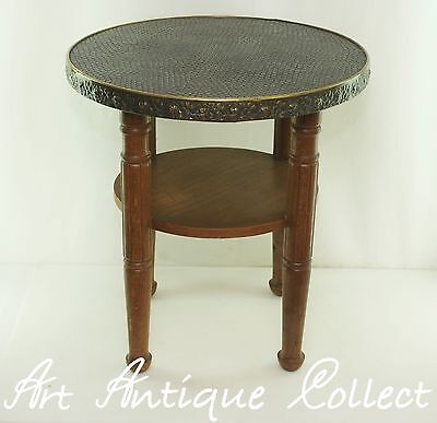 Art Deco Coffee Game Table 1930 Occasional Wood Round Circular Side Table Vtg
