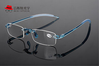 New Rimless flexible TR90 Frame Blue Eyewear Reading Glasses Reader +1.00 ~4.00