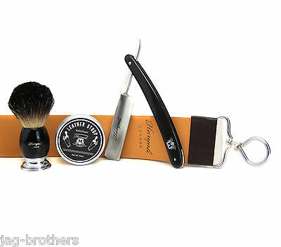 Vintage Shaving Set For Men By Haryali London Badger Hair Brush Straight Razor