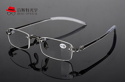 New Rimless flexible TR90 Frame Gray Eyewear Reading Glasses Reader +1.00 ~4.00