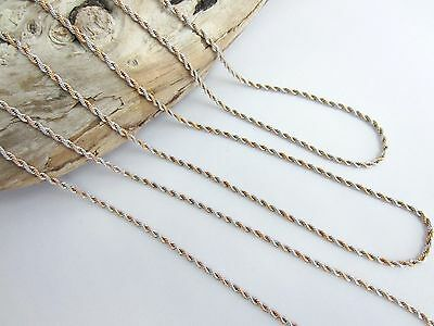 Two Tone Rose Gold/Silver Heavy Rope Chain For Mi Milano Moneda Necklace Ajmm