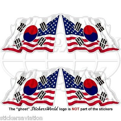 "USA United States America-SOUTH KOREA Flying Flag S.Korean 50mm (2"") Stickers x4"